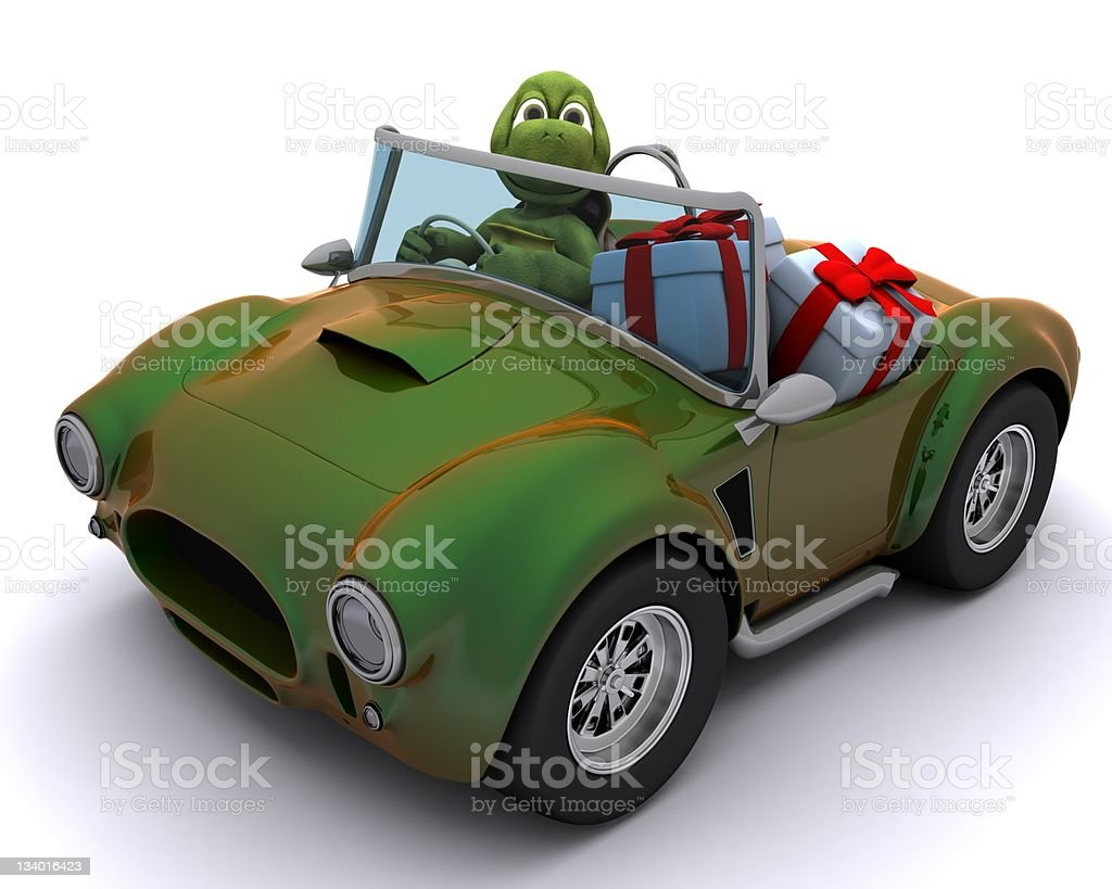 tortoise driving a car with gifts vector art illustration