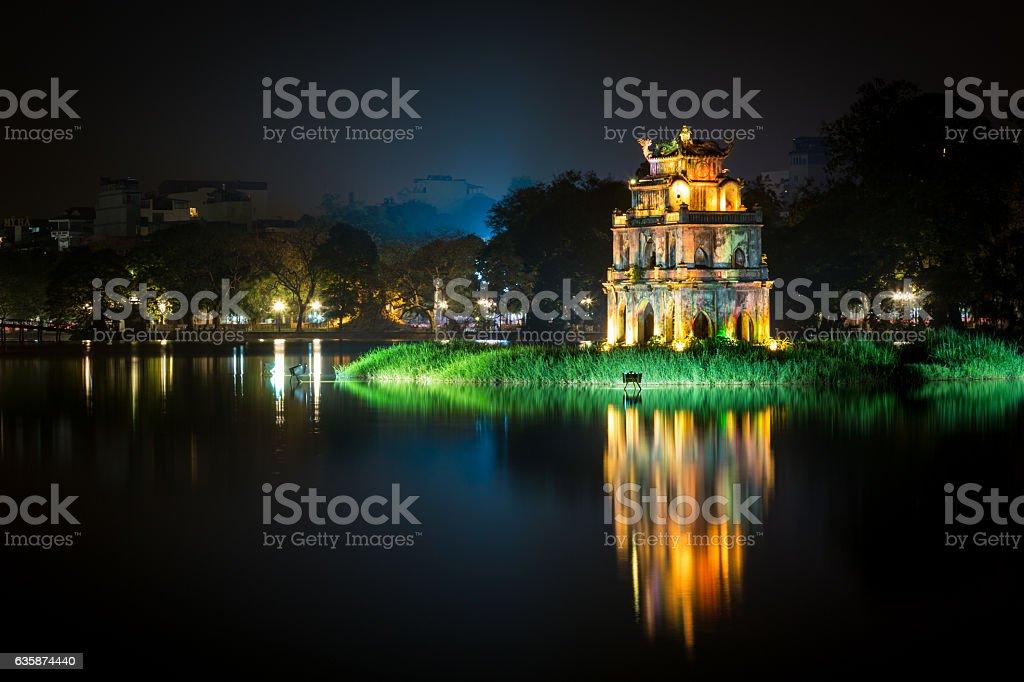 Tortoise Tower and Reflection at Night, Hanoi, Vietnam stock photo