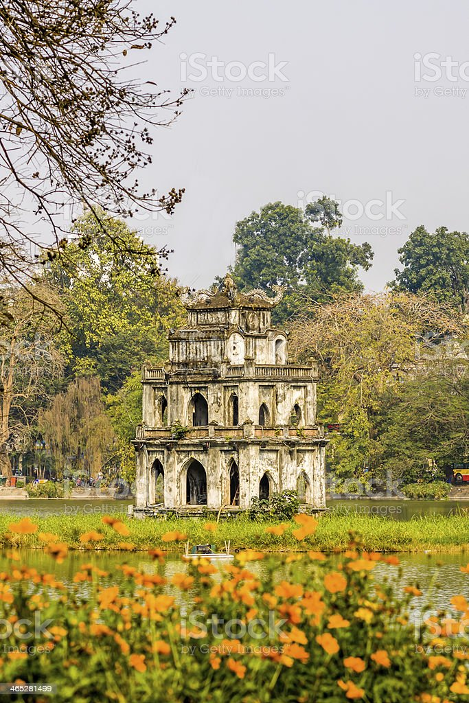 Tortoise Tower at Hanoi's Hoan Kiem Lake, Hanoi, Vietnam stock photo