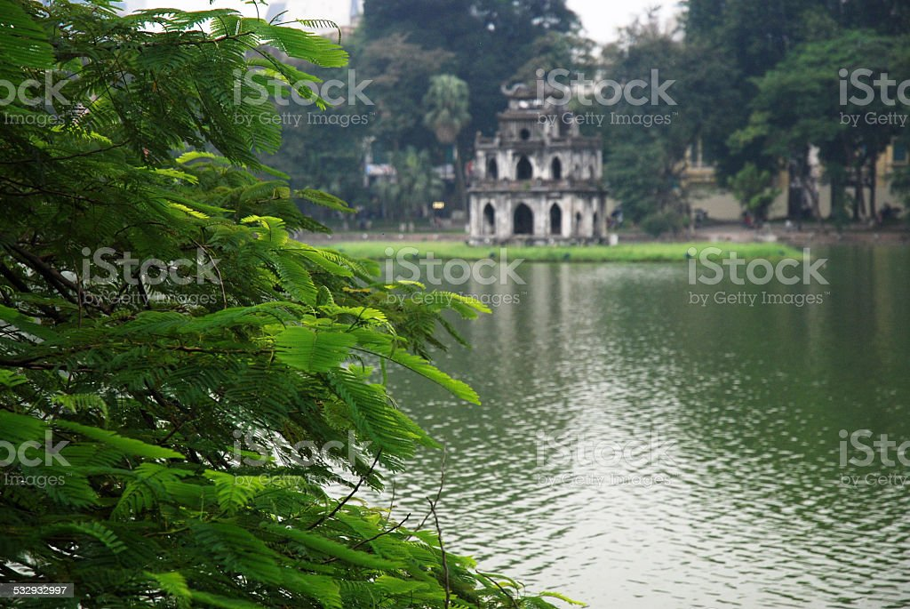 Tortoise Tower at Hanoi's Hoan Kiem Lake stock photo