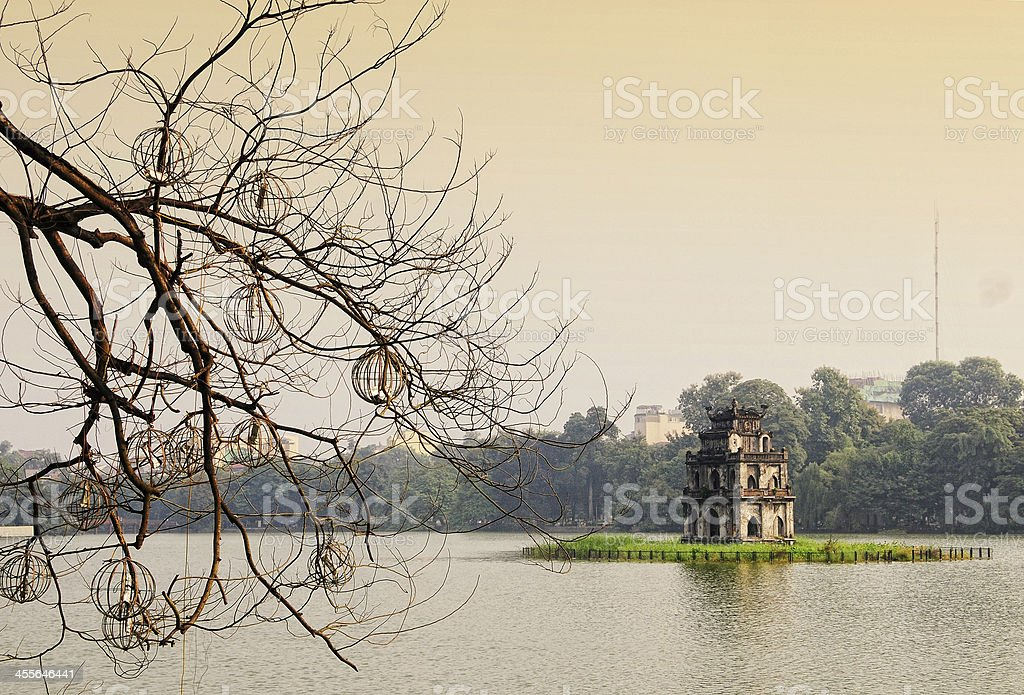 Tortoise Tower at Hoan Kiem Lake, Hanoi stock photo