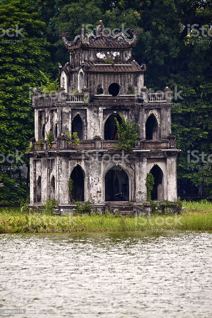 Tortoise Tower in Ho Hoan Kiem lake stock photo