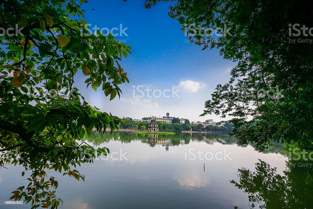 Tortoise Tower on Hoan Kiem lake, Hanoi stock photo