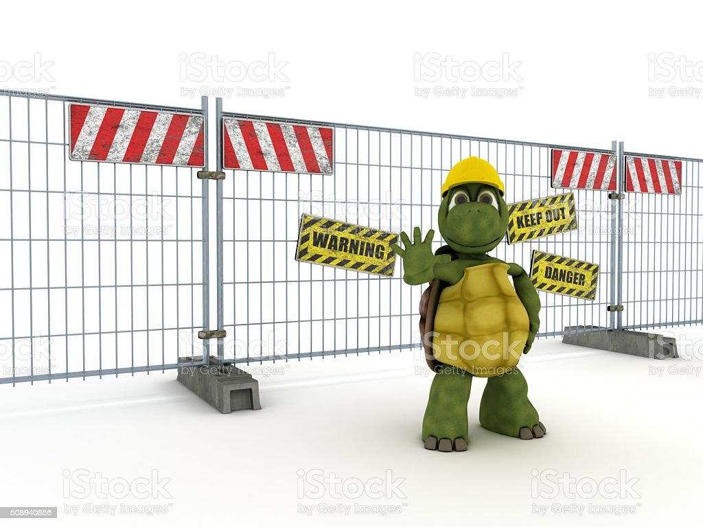 tortoise with construction barrier fence stock photo
