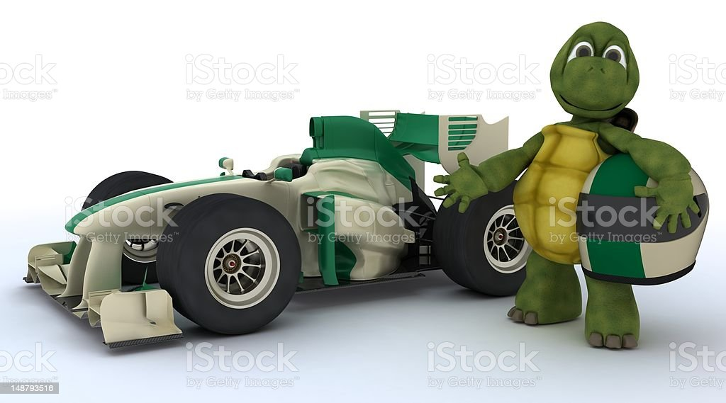 tortoise with racing car stock photo