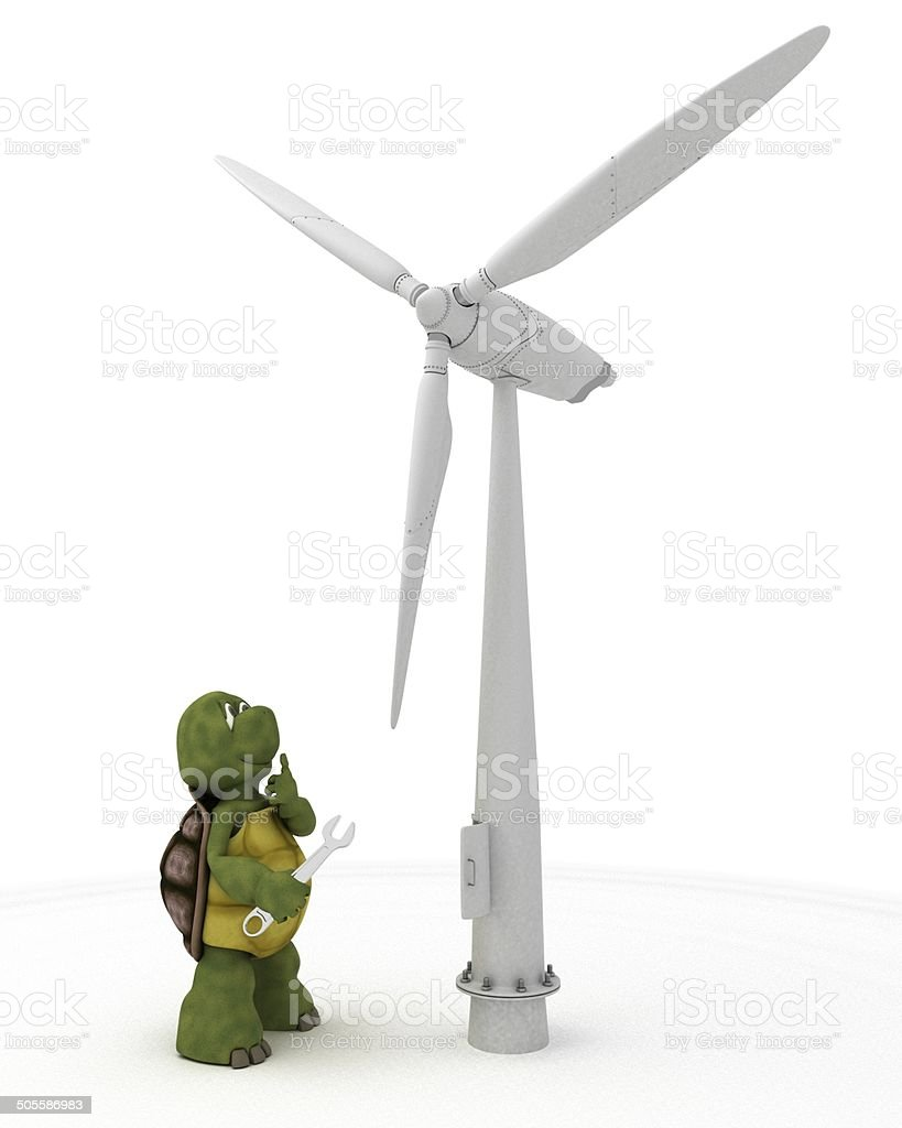 tortoise with wind turbine stock photo
