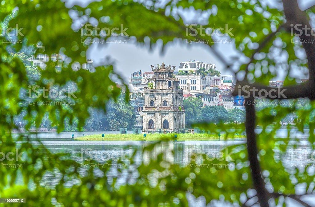 Tortoises tower architecture between Hoan Kiem Lake, Hanoi, Vietnam stock photo