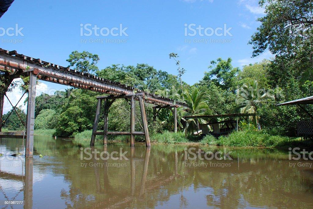 Tortuguero Canal Jungle River Railroad bridge, Costa Rica stock photo