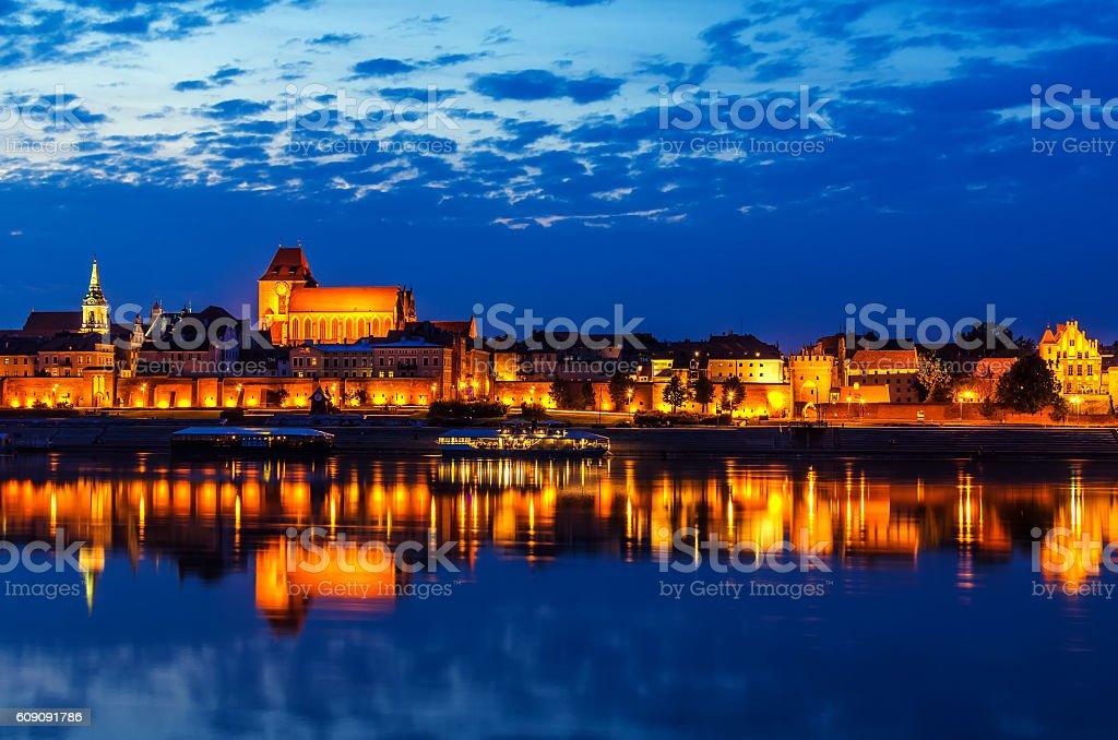 Torun, Poland: old town, cathedral, defensive wall, Vistula river stock photo