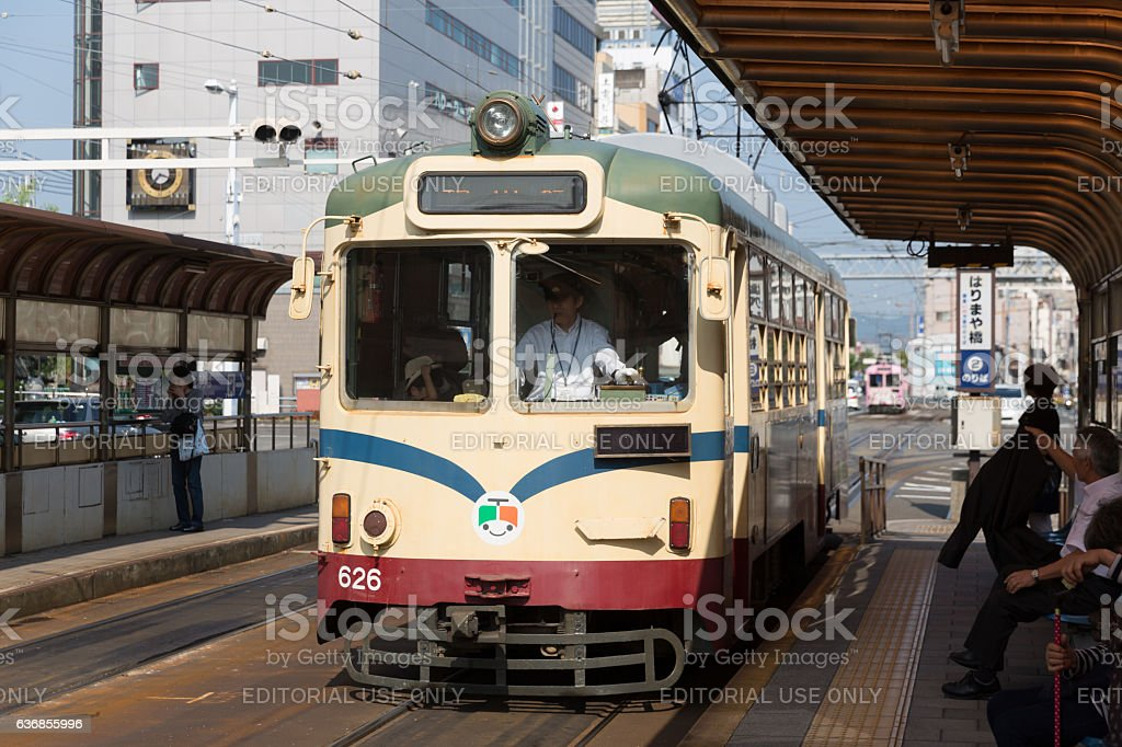 Tosa Electric Railway Tram in Kochi Prefecture, Japan stock photo