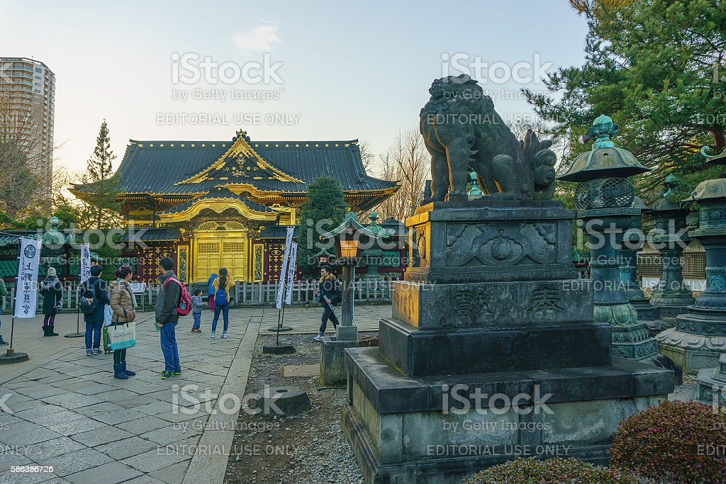 Toshogu Shrine at Ueno Park in evening stock photo