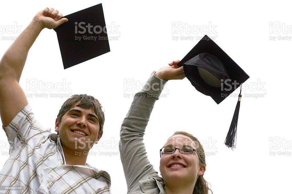 Toss the graduation hat royalty-free stock photo