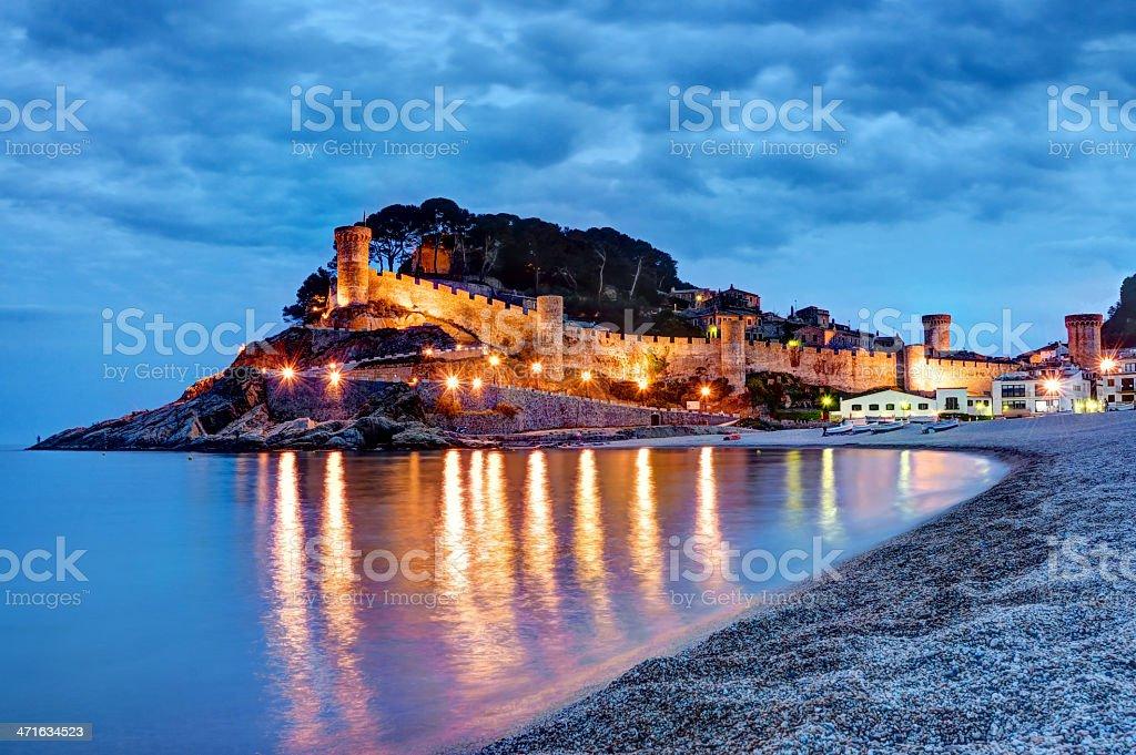 Tossa de Mar, Costa Brava, Spain, Fortress in the evening stock photo