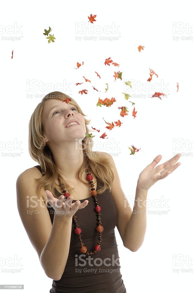 Tossing leaves royalty-free stock photo