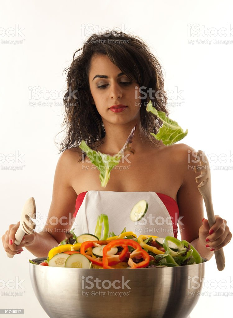 Tossing Salad royalty-free stock photo
