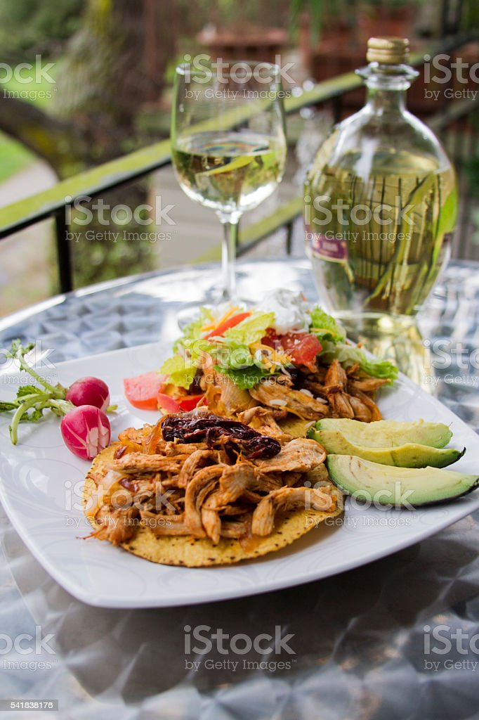 Tostadas and wine outdoor lunch stock photo