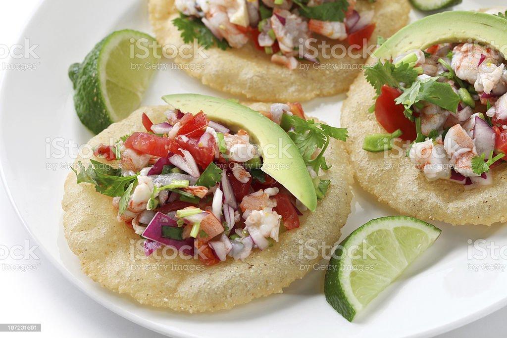tostadas de ceviche, mexican food stock photo