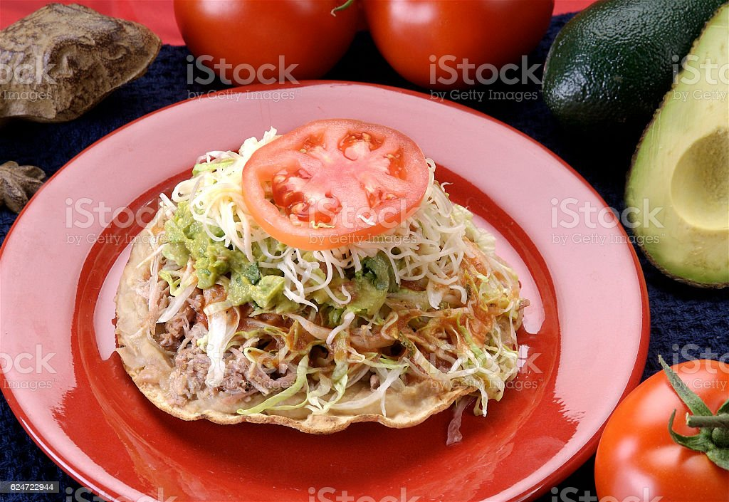 Tostadas with ground beef and vegetables stock photo