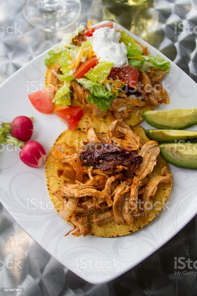 Tostadas with wine for outdoor lunch stock photo