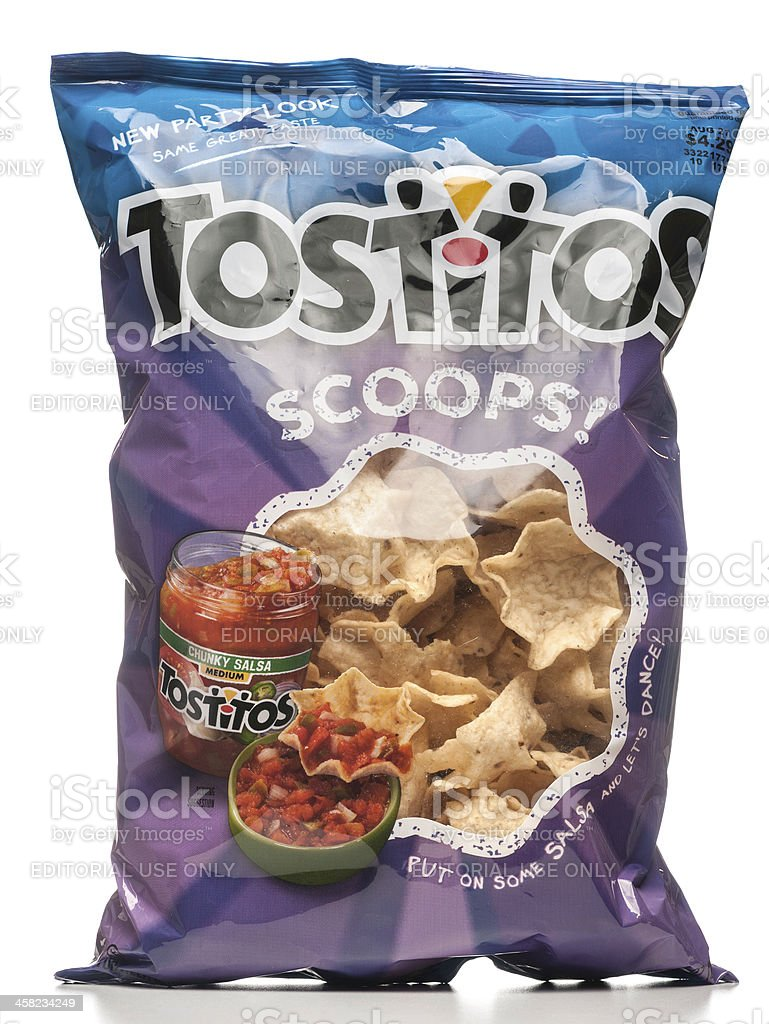 Tostitos Scoops tortilla chips new party look bag royalty-free stock photo