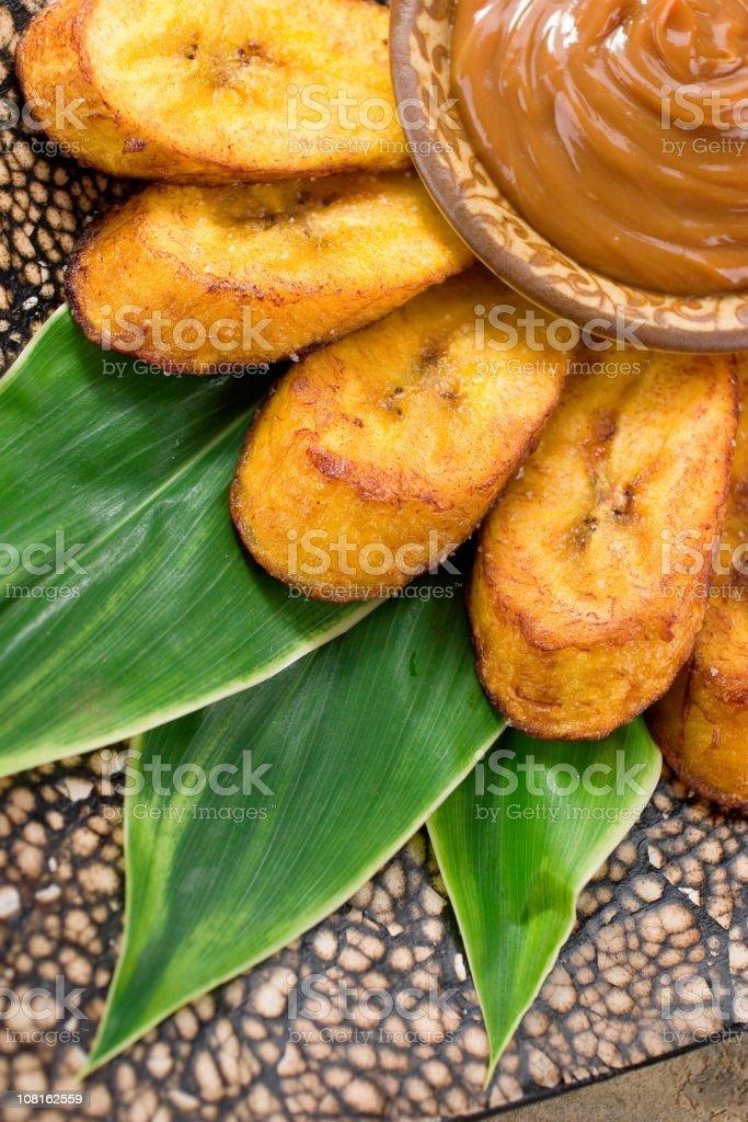 Tostones and Dulce de Leche stock photo