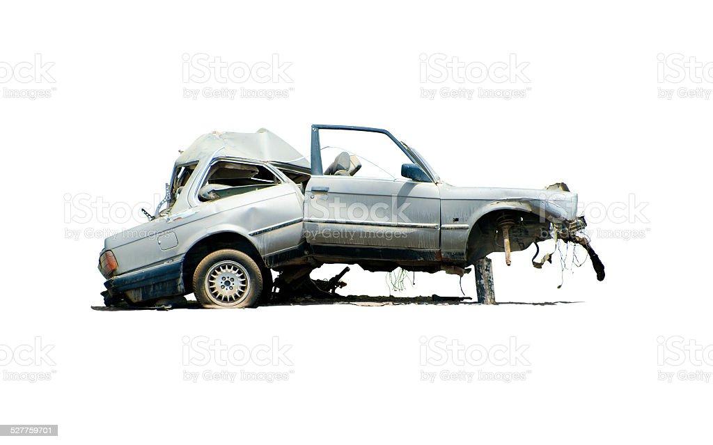 Total Loss.  Demolished car. stock photo