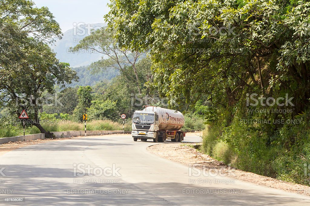 Total LPG truck on highway, Karnataka, India stock photo