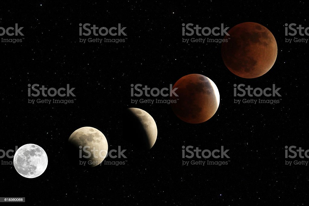 Total lunar eclipse 2015 stock photo