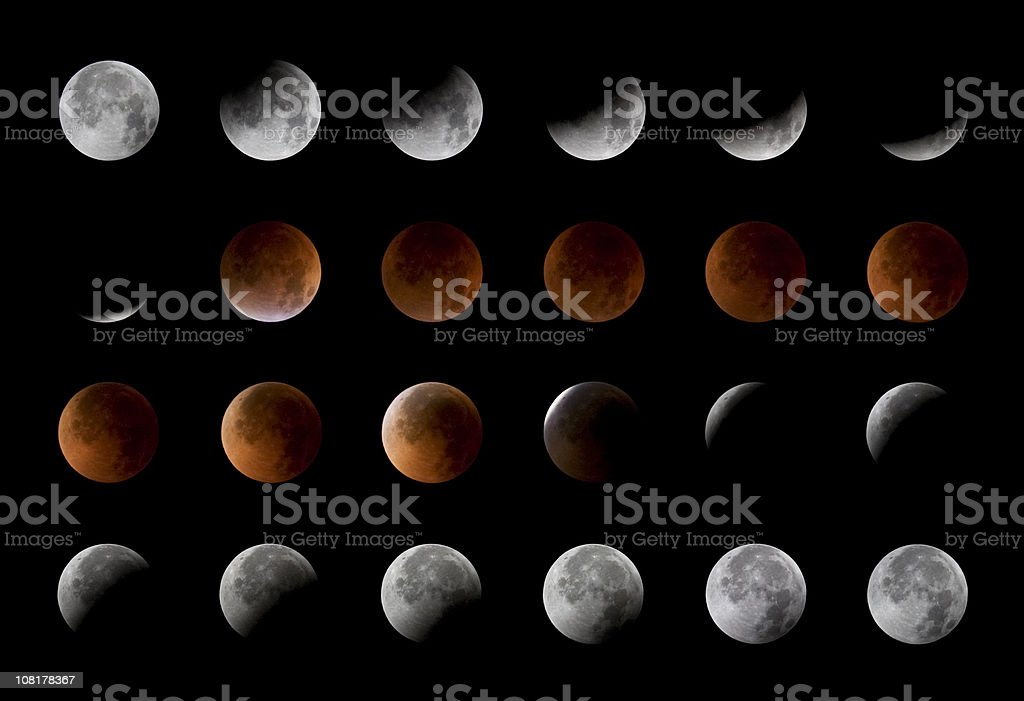Total lunar eclipse, 24 moon phases, August 28th, 2007 stock photo