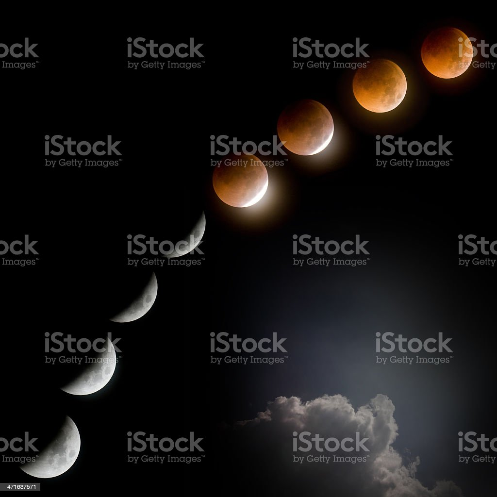 total lunar eclipse at dark night with cloud stock photo