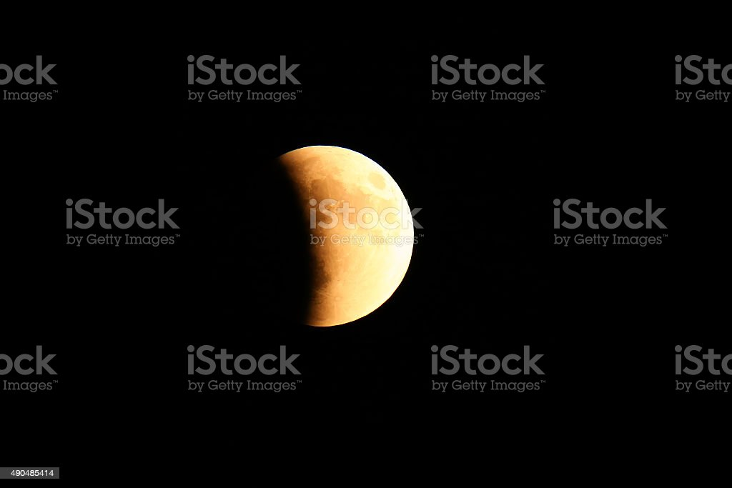 Total Lunar Eclipse of a Supermoon on September 27, 2015 stock photo