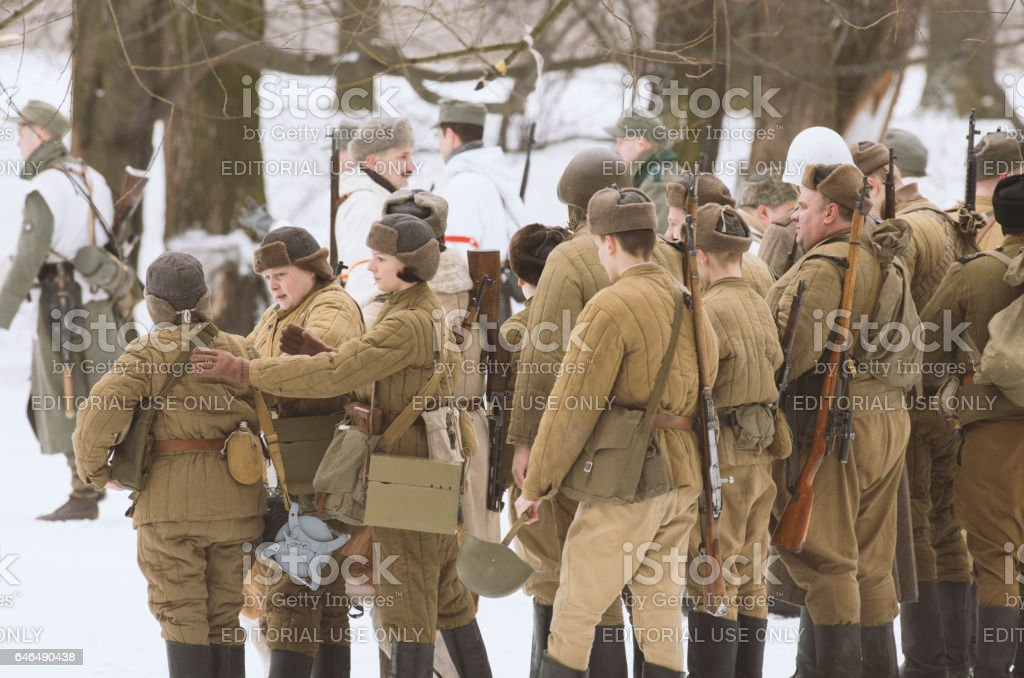 Total military construction before the military historical reconstruction. stock photo