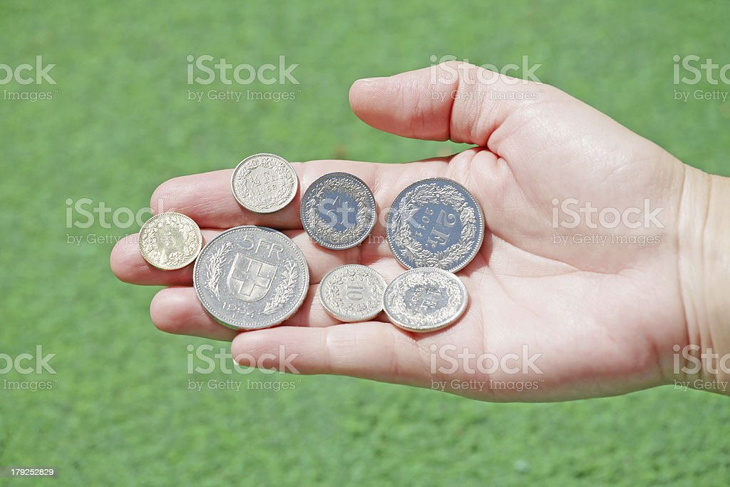 Total set of swiss franc coins royalty-free stock photo