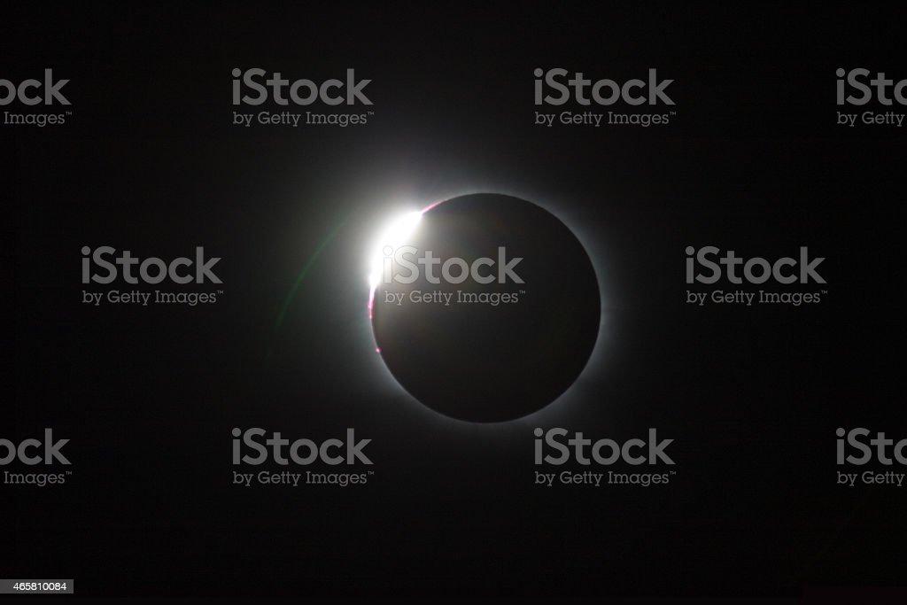 Total solar eclipse, diamondring stock photo