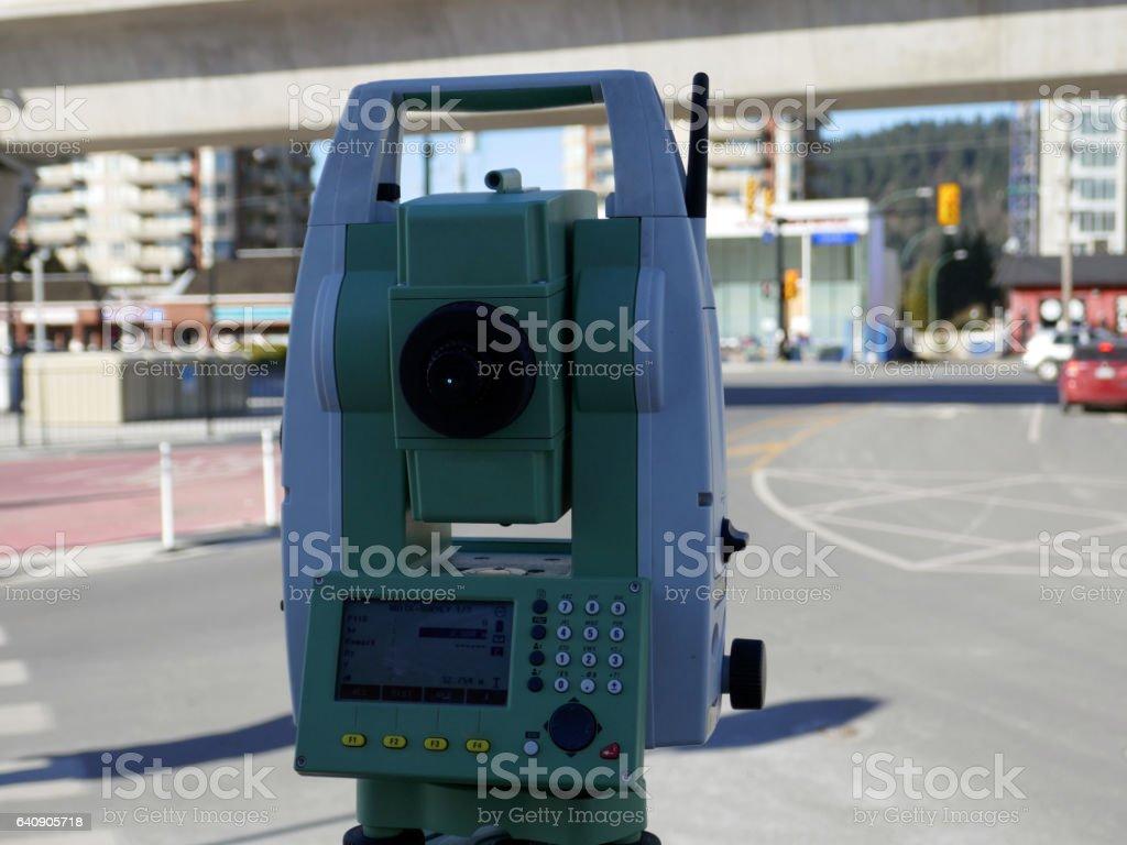Total Station Land Surveying stock photo