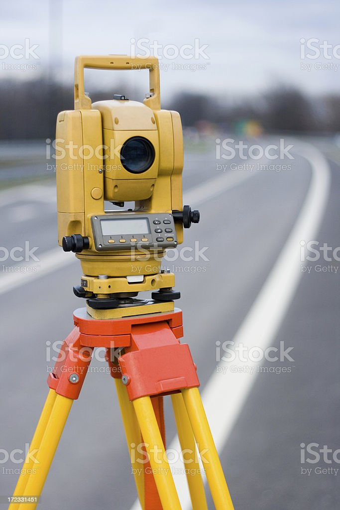 Total station (tacheometer) royalty-free stock photo