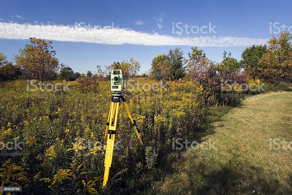 Total Station set in teh field stock photo