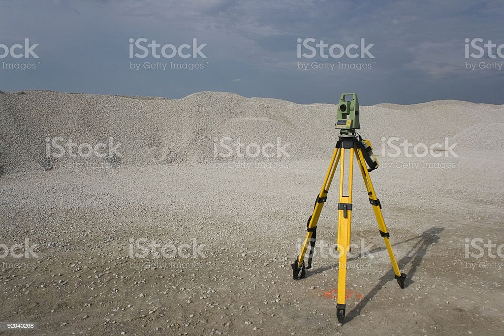 Total Station set in the field stock photo