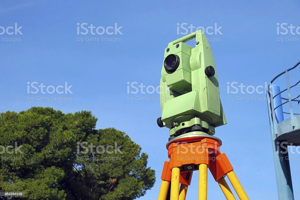 Total station, surveying royalty-free stock photo