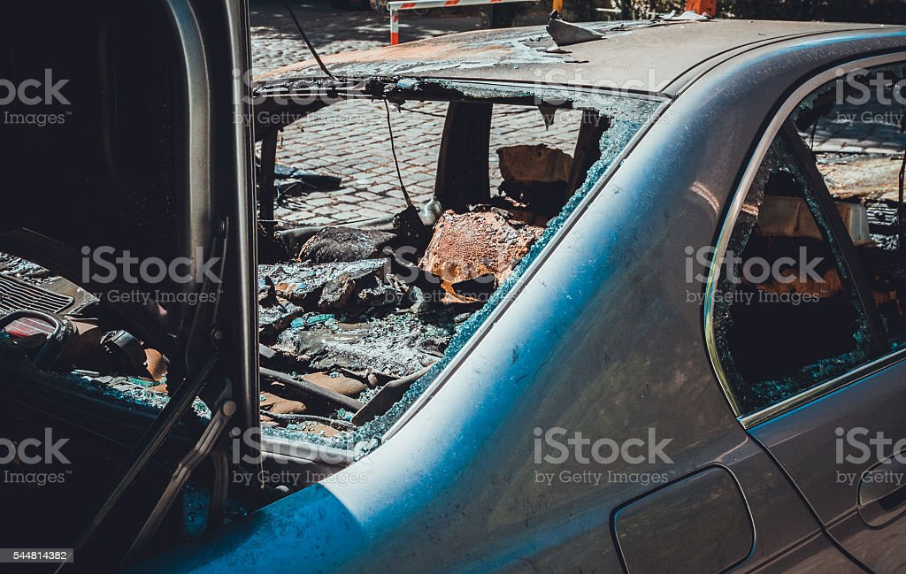 totally destroyed car stock photo