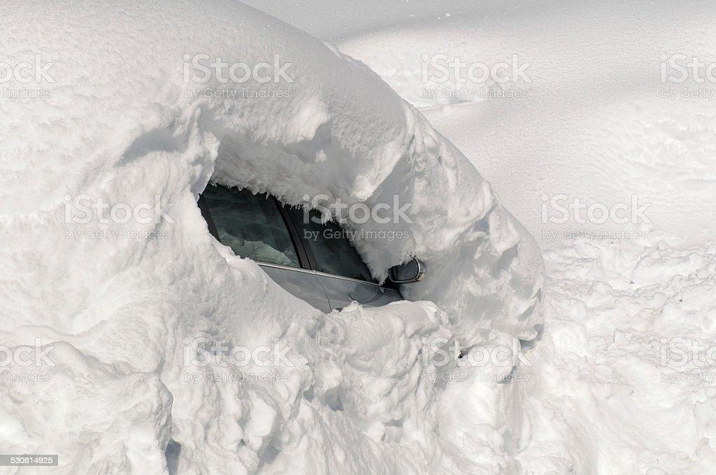 totally snowed car in tirol stock photo
