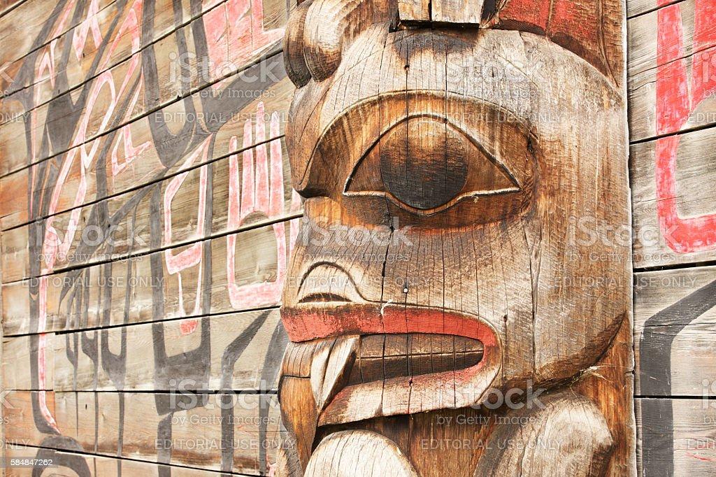 Totem Pole Bear Gitanyow Band Council stock photo