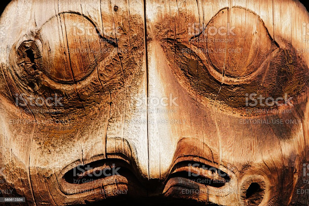 Totem Pole Face Gitanyow Band Council stock photo