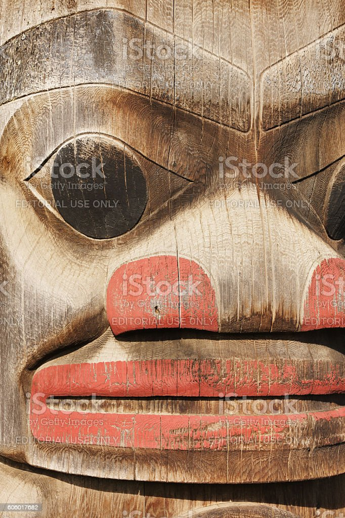 Totem Pole Frog Head Gitanyow Band Council stock photo