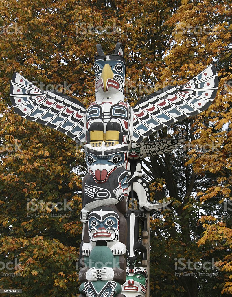 Totem Pole in fall royalty-free stock photo