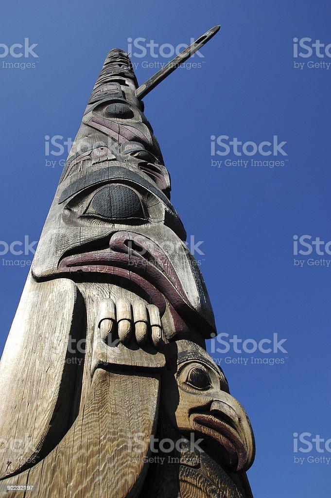 Totem Pole In Seattle Washington stock photo