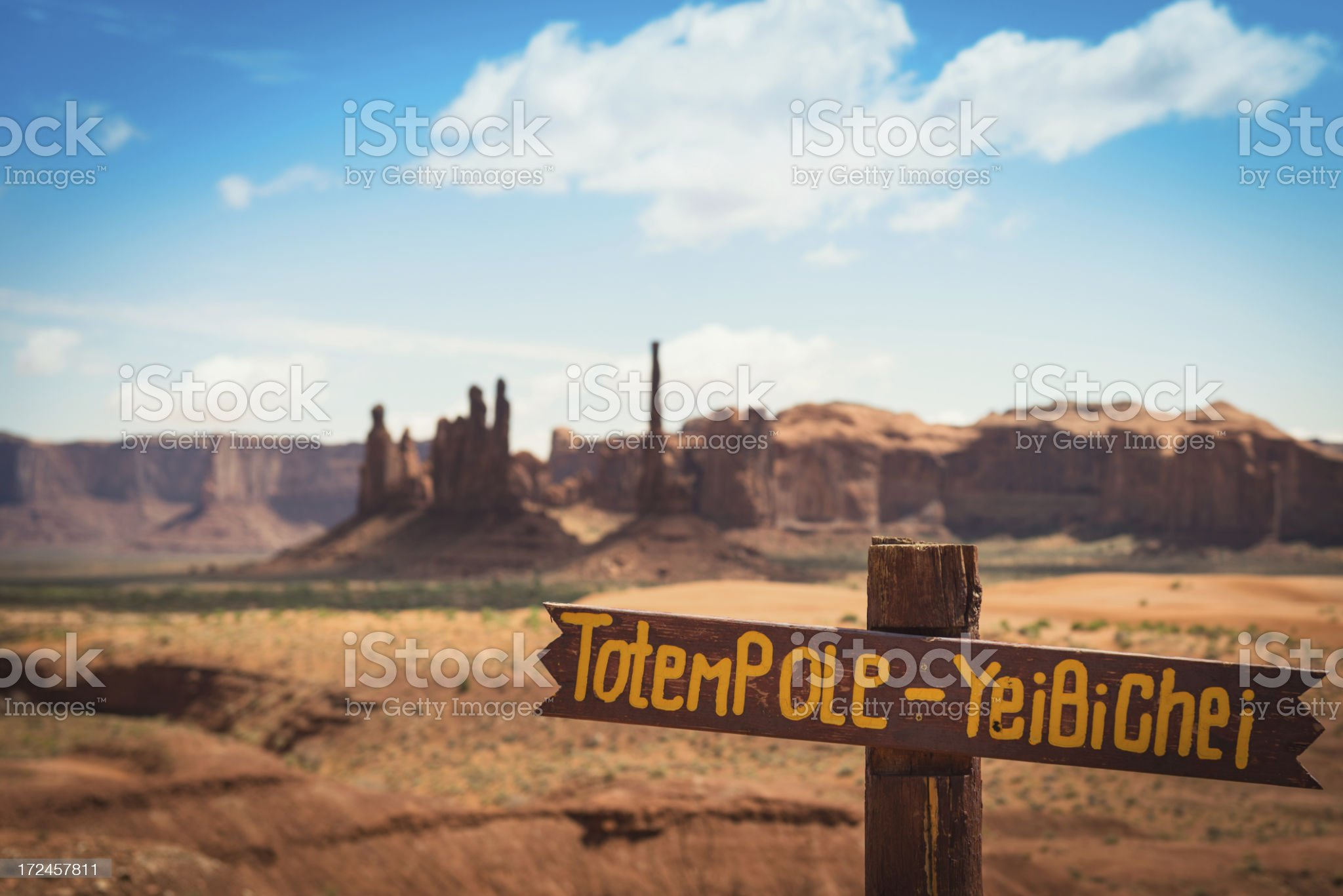 Totem Pole on Monument valley National park desert royalty-free stock photo