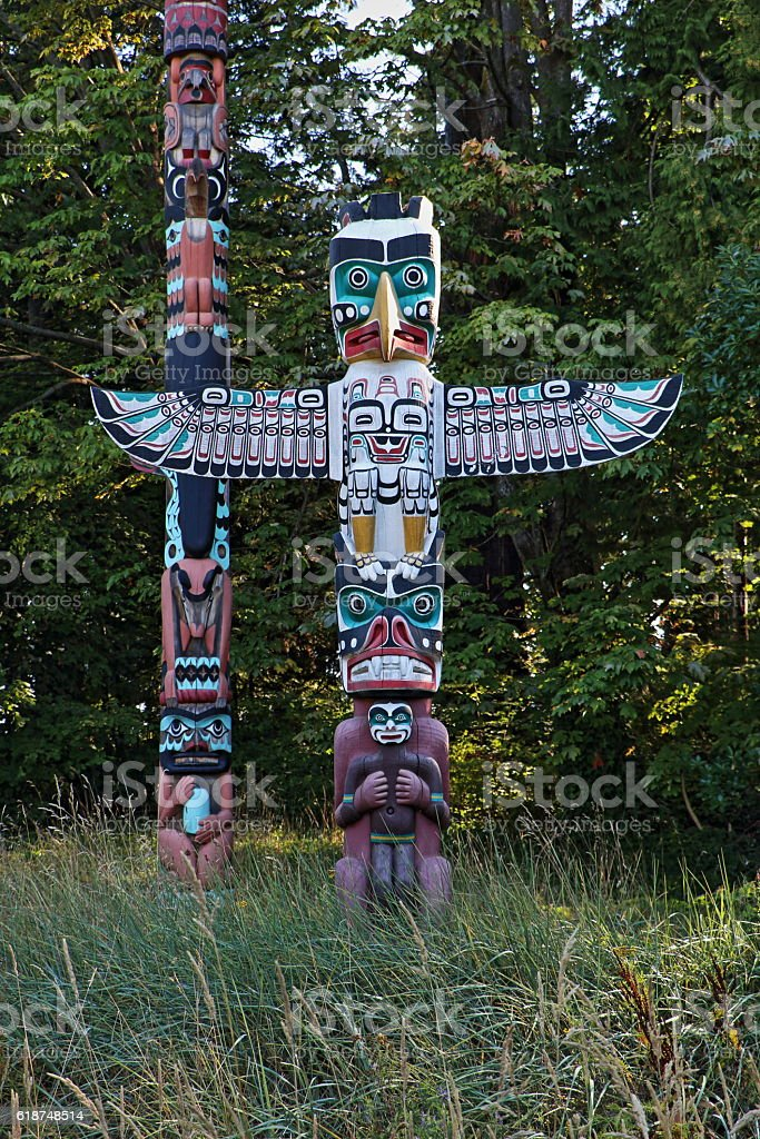 Totem Poles, Stanley Park, Vancouver, British Columbia, Canada stock photo