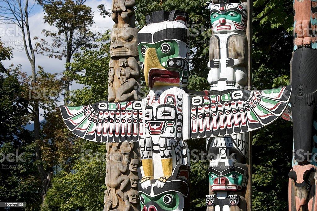 Totem Poles Vancouver British Columbia stock photo