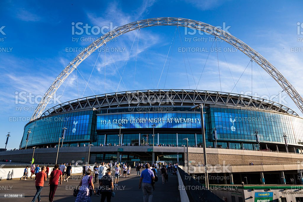 Tottenham Hotspur supporters outside Wembley Stadium, London, UK stock photo